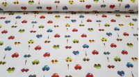 Flannel Cars fabric - Nice children's flannel fabric with colorful car drawings and traffic lights on white background.