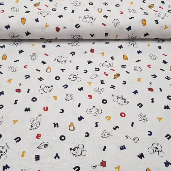 Cotton Disney Mickey Minnie Letters fabric - Disney licensed cotton fabric with drawings of Mickey and Minnie in black and white silhouettes, with colored letters as background. The fabric is 150cm wide and its composition 100% cotton.