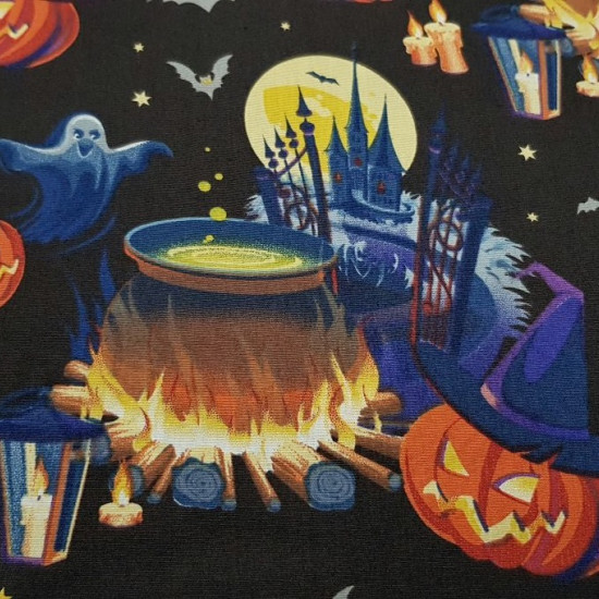 Cotton Halloween Pumpkins Cauldron fabric - Halloween-themed cotton fabric, with drawings of sinister pumpkins, cauldrons, bats and castles on a black background. The fabric is 140cm wide and its composition 100% cotton.