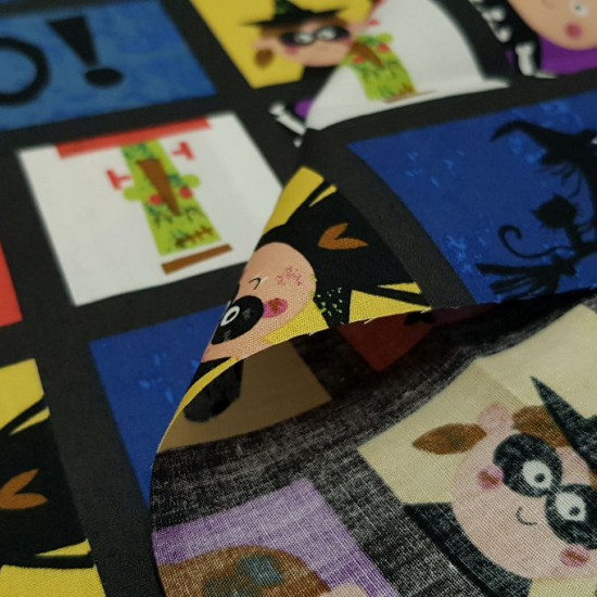 Cotton Halloween Boo Squares fabric - Cotton fabric ideal for Halloween, with drawings of cartoons typical of Halloween in squares. The fabric is 140cm wide and its composition 100% cotton.