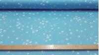 Tela OUTLET Punto Burbujas - Tejido de Punto de Seda Estampado con dibujos de burbujas o círculos blancos sobre fondo azul. Tela Outlet Liquidación Barata