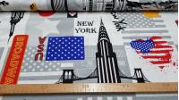 Tela Loneta Love New York - Tela de loneta ideal para decoración y complementos como cojines, con dibujos de temática de la ciudad de New York. Aparecen varios dibujos muy característicos de esta gran ciudad deEstados Unidos, como el Empire State