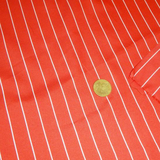 Tela OUTLET Crespón Rayas Finas - Tejido de Crespón estampado con rayas finas blancas sobre fondo rojo.