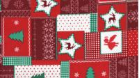 Tela Algodón Navidad Patchwork Rojo - Tejido Patchwork 100% Algodón Dibujos de navidad donde predomina el color rojo.